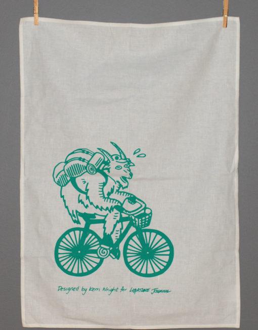 Cycling Goat Tea Towel